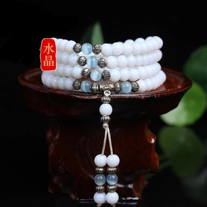 White Chalcedony Buddhist 108 Prayer Beads