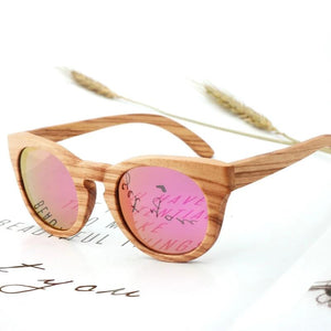 Rounded Wood Sunglasses