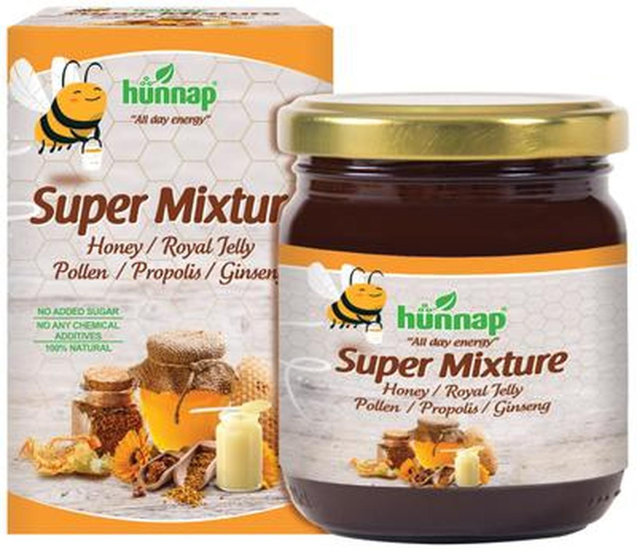 Hunnap Super Mixture Honey - Royal Jelly - Pollen - Propolis - Ginseng - No Added Sugar