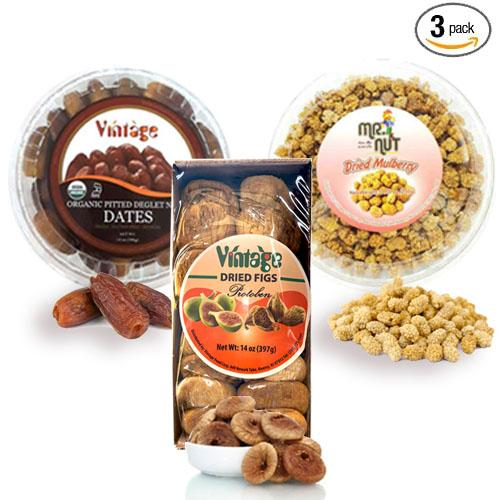 Organic Dried Fruit Basket 1000G, Natural Dried Fruits, Organic Pitted Dates 14Oz, Dried Mullberry 7.05 Oz, Vintage Dried Figs 14 Oz, Mix Fruit 3 Packed Bundle 35.05 Oz