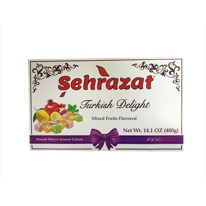 Sehrazat Turkish Delights Mini Mix Fruits Flavored | Karisik Meyve Aromali Turk Lokum | 1.1lbs