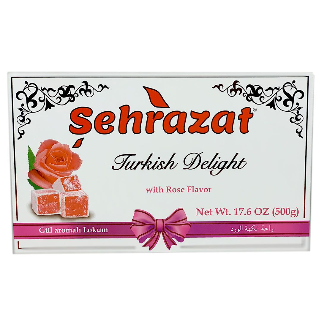 Sehrazat Turkish Delights Traditional Rose Flavored | Gul Aromali Turk Lokum | 1.1lbs