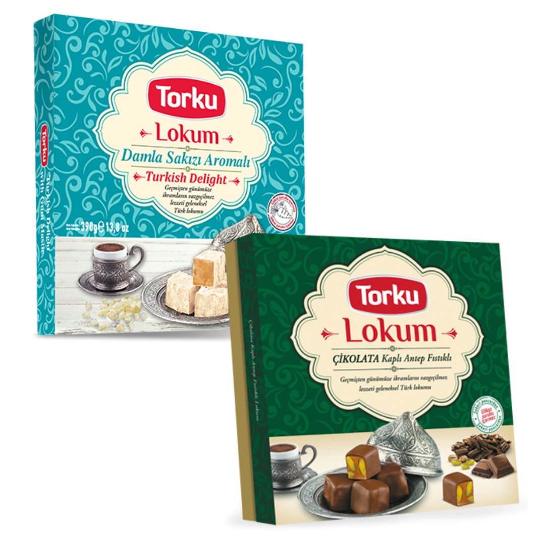 Torku Famous Turkish Delight Bundle Pack Plain - Pistachio | 2 x 13.8Oz