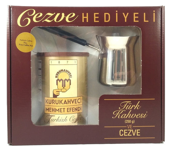 Turkish Coffee w/ Cooking Pot 0.55 lbs Coffee (Turk Kahvesi Cezve Hediyeli)