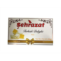 Turkish Delight Sehrazat Double Bundle Pack Halal Traditional Turkish Dessert, 2x500 Gram, Vegan Candies, Dessert - 2 x 17,6 Oz (Plain-Rose)