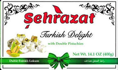 Turkish Delight Sehrazat Triple Bundle Pack Halal Traditional Turkish Dessert, Vegan Candies, Dessert (Double Pistachio-Chocolate Covered Hazelnut)