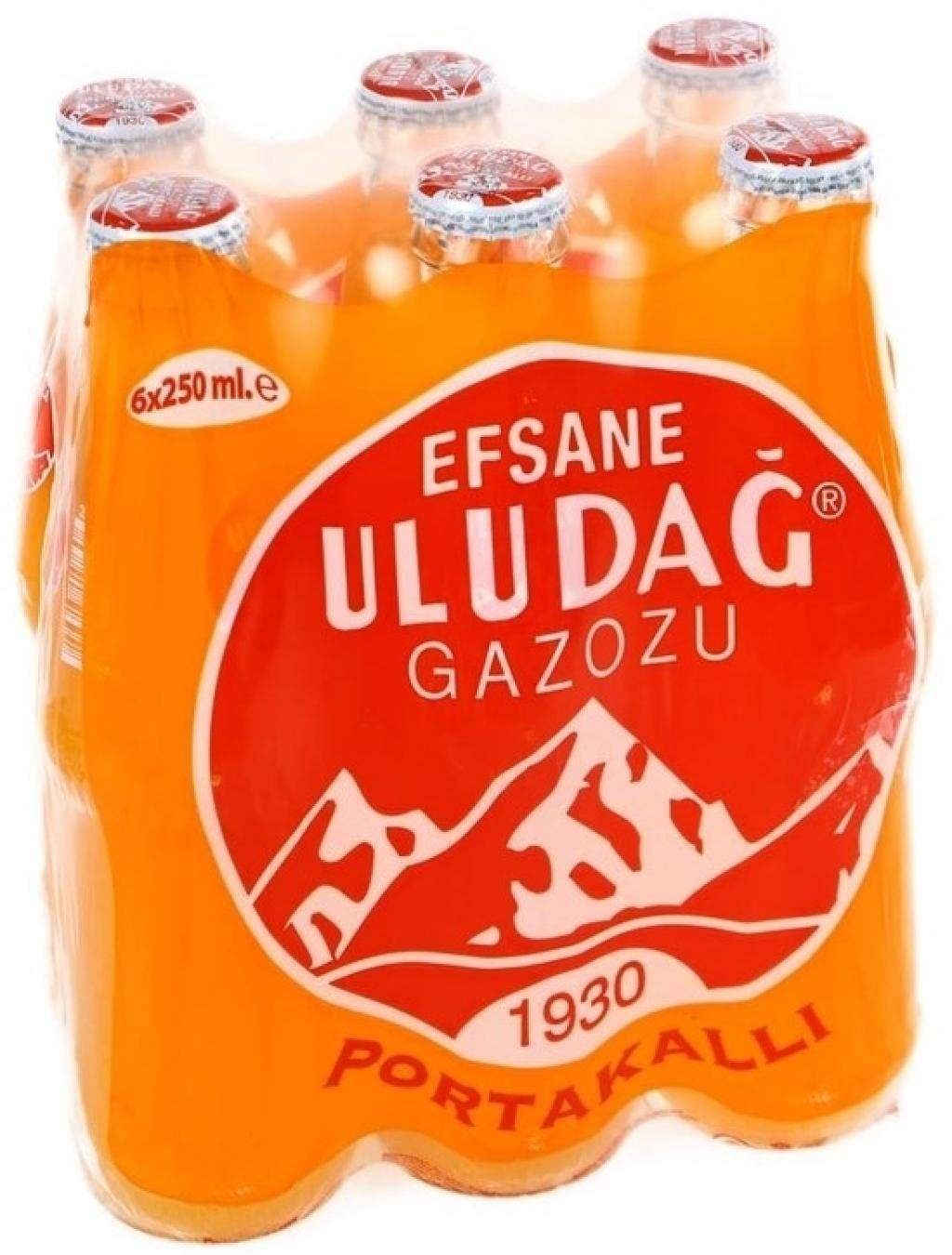 Uludag Orange Soda 8,45Oz x 6 (Portakalli Gazoz)