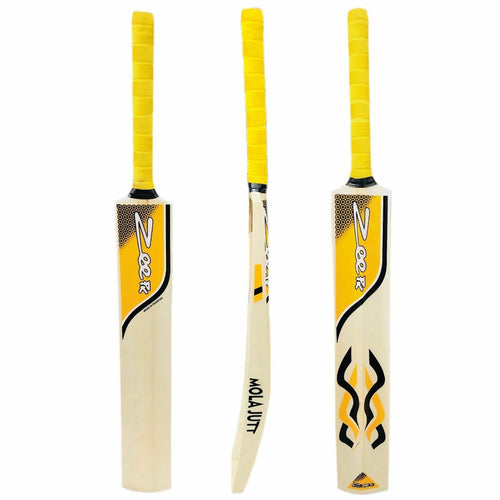 Zeepk Cricket Bat Tennis Ball Handcrafted Kashmir Willow Grip Thick Edge Blade 44mm Light Weight 2lb - Zeepk Sports