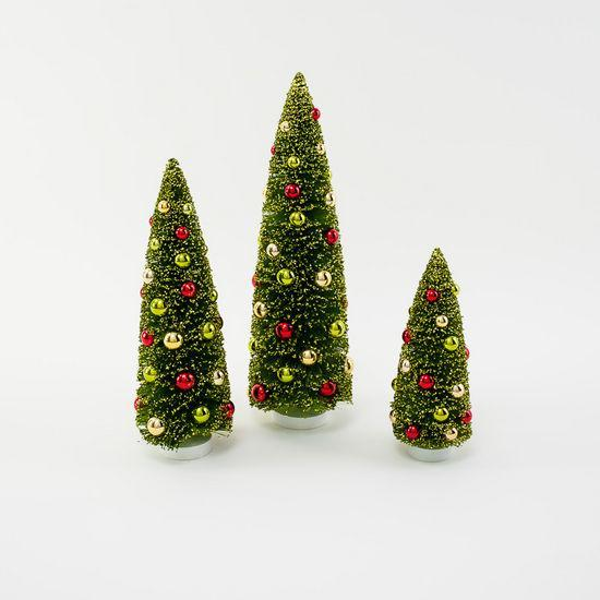 Festive Christmas Bottle Brush Trees, Large