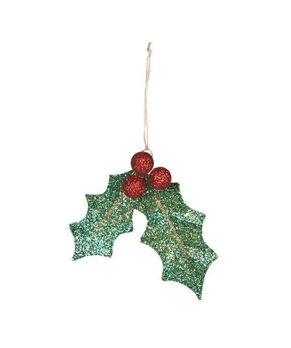 Glittered Holly Leaf Ornament