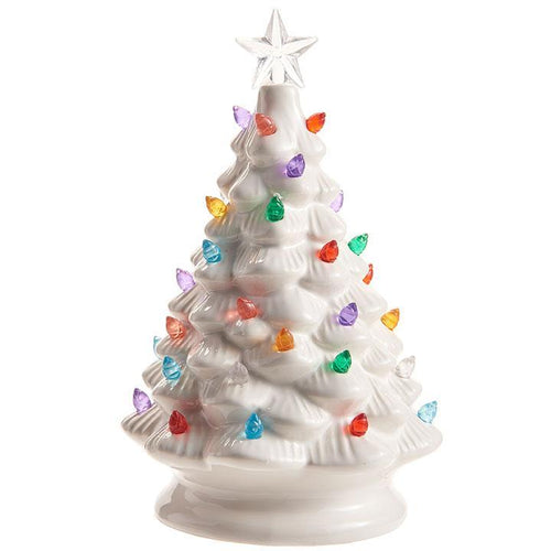 Retro White Ceramic Christmas Tree with Multi Color Lights