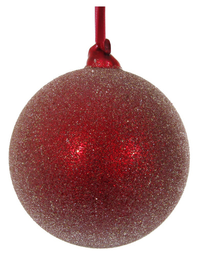 Red Sugared Glass Ball Ornaments