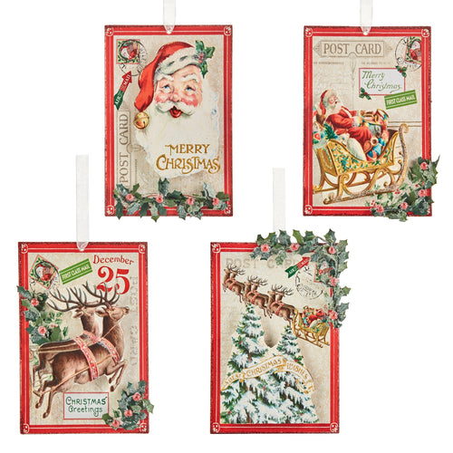 Vintage Santa & Reindeer Post Card Ornaments