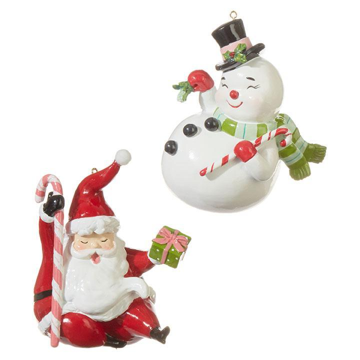 Retro Snowman and Santa Ornaments