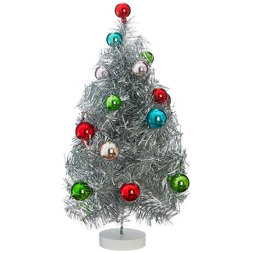 Tinsel Tree with Ball Ornaments