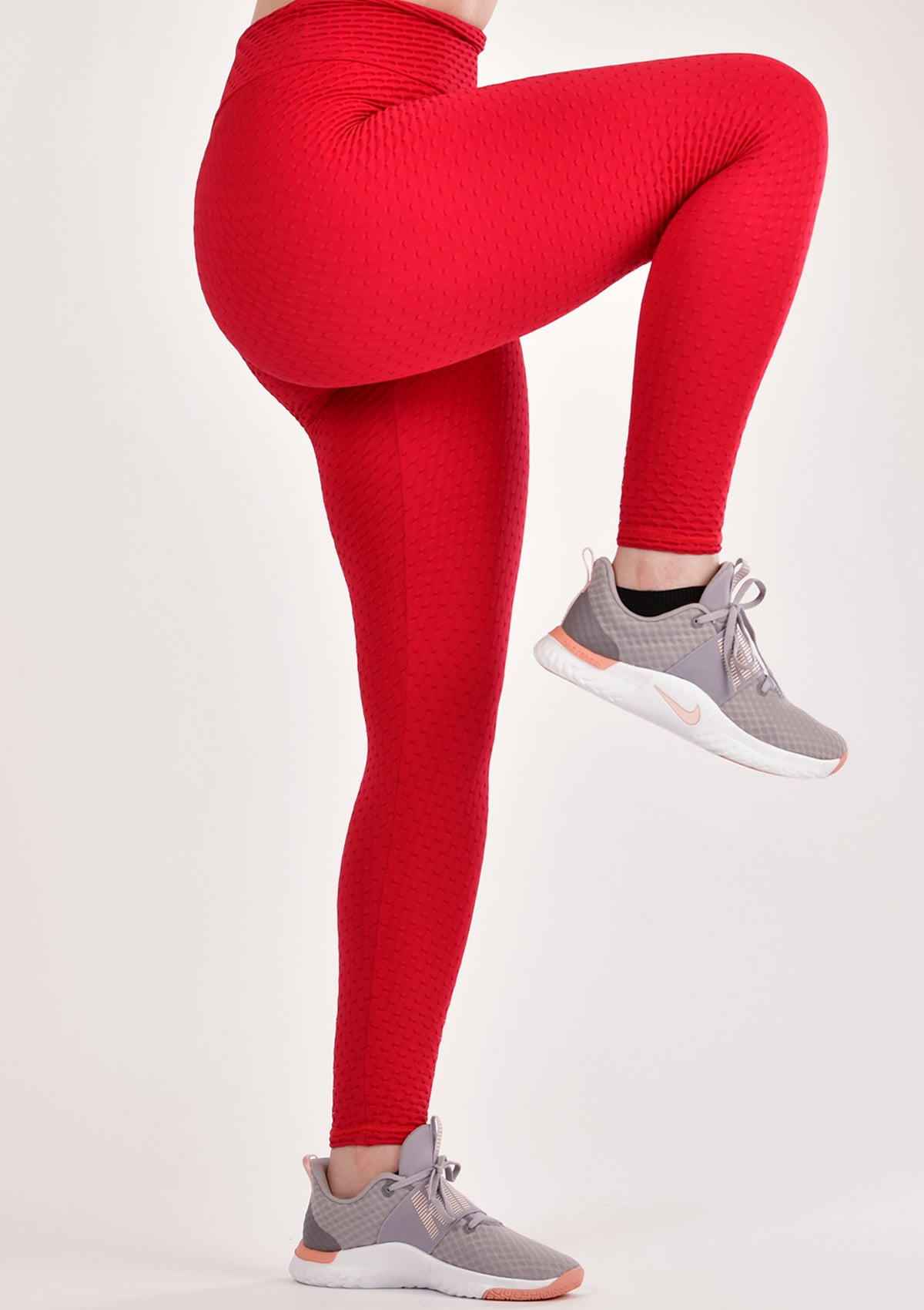 Ruched Red Leggings