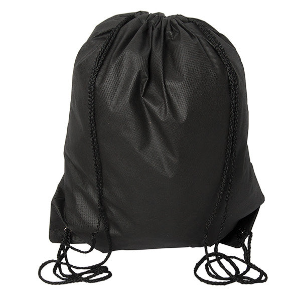 (Black) Non Woven Drawstring Backpack