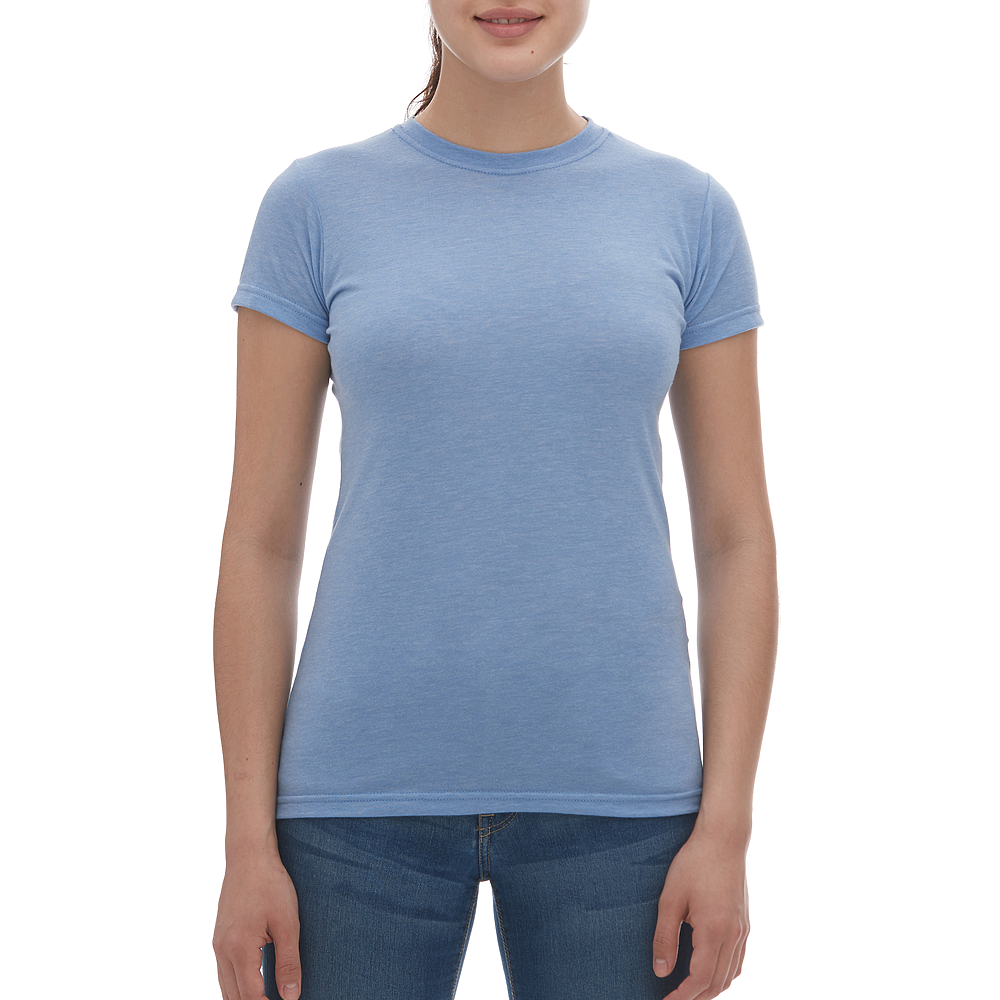 M & O Ladies Blend Tee - Heather Blue