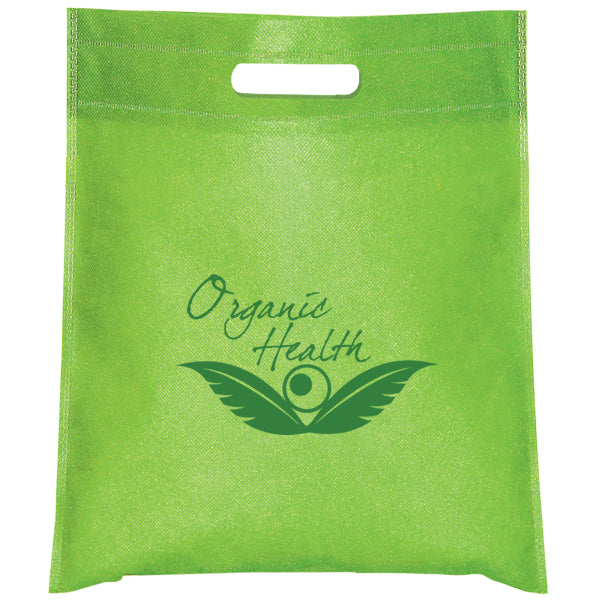 Cut-out Handle Non Woven Lime Tote Bag