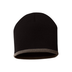 Bottom Stripe Toque - Black & Taupe (Brown)