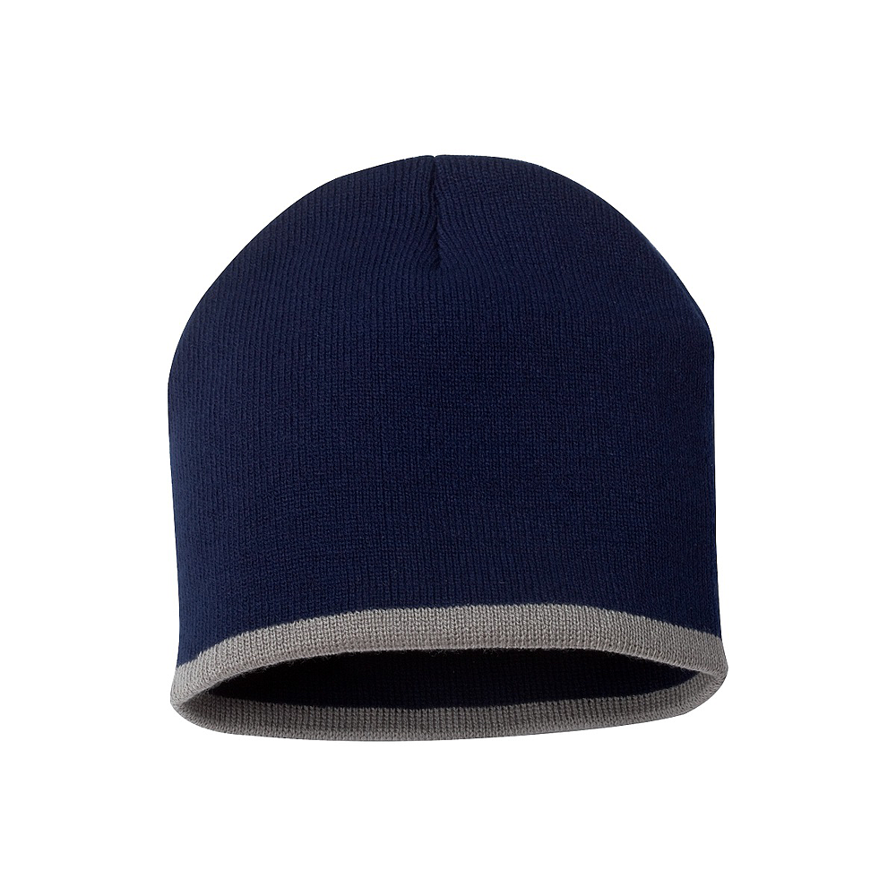 Bottom Stripe Toque - Navy & Grey