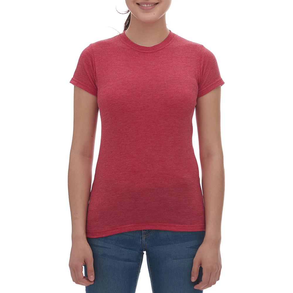 M & O Ladies Blend Tee - Heather Red