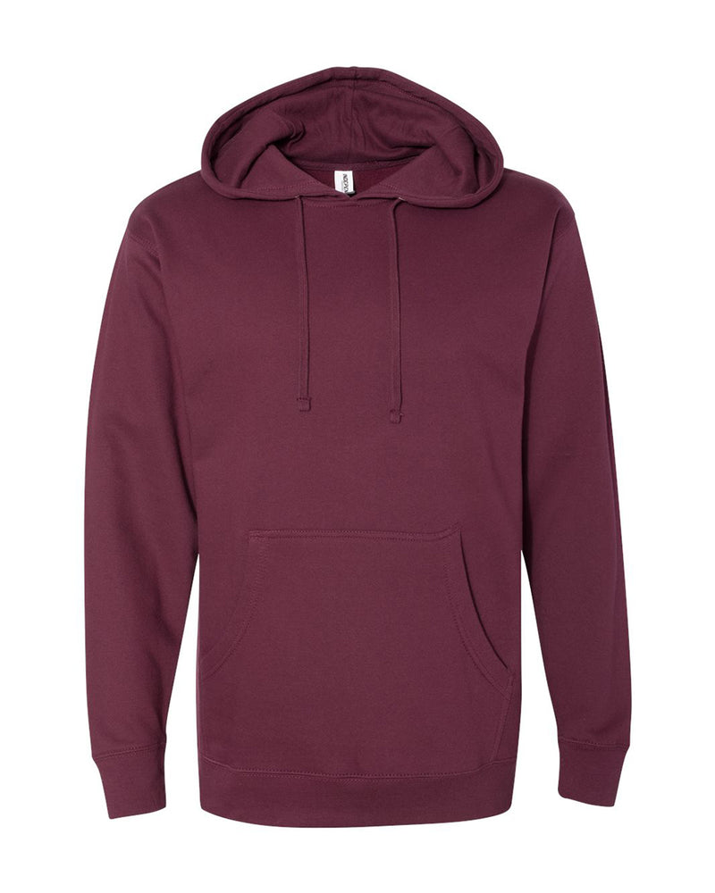 (Maroon) Independent Trading Co Midweight Hooded Sweatshirt