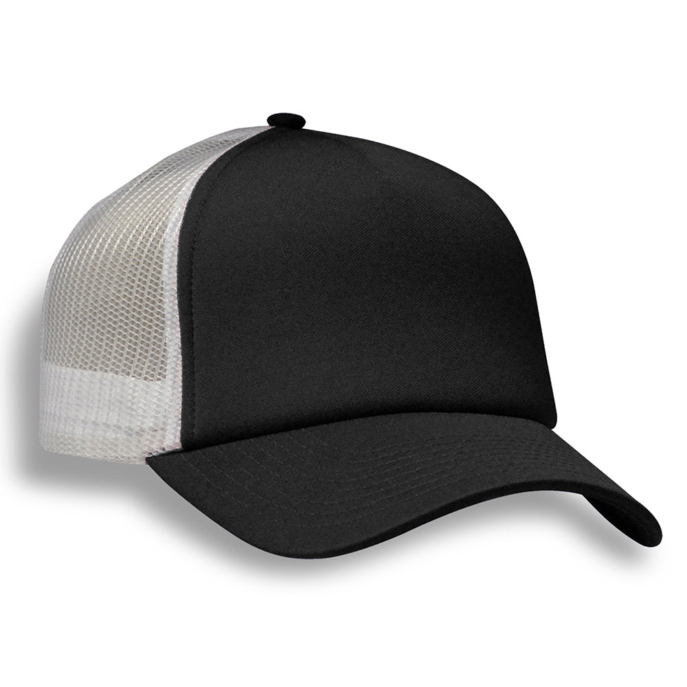 (Black) Structured 5 Panel Foam Trucker Cap