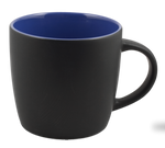 Cafe Two Tone Ceramic Black & Royal Blue  Mug 12 Oz.