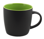 Cafe Two Tone Ceramic Black &  Green Mug 12 Oz.