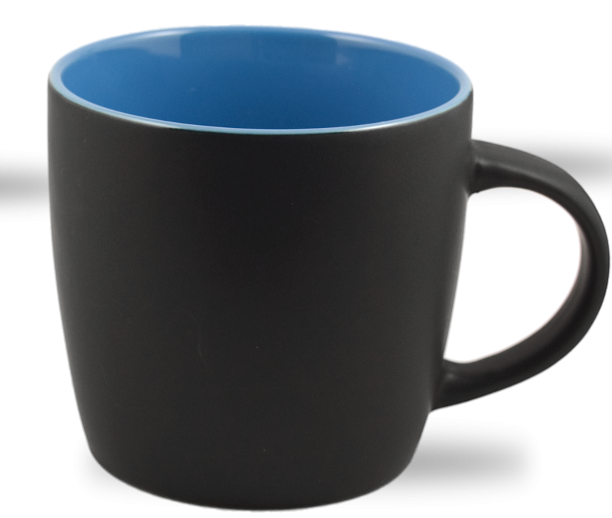 Cafe Two Tone Ceramic Black & Light Blue  Mug 12 Oz.
