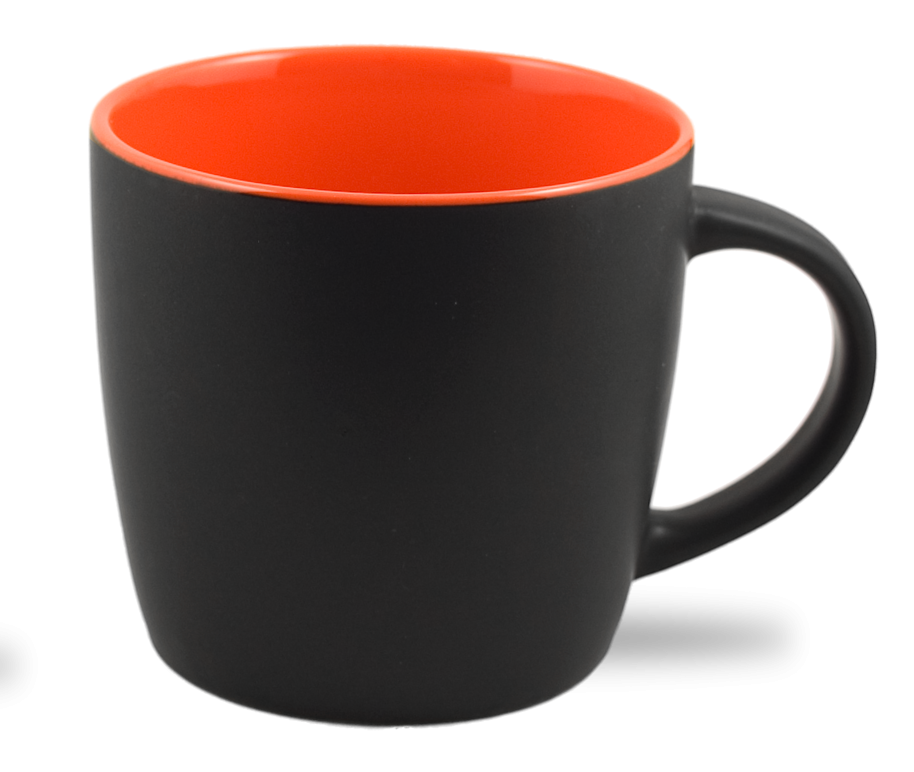 Cafe Two Tone Ceramic Black & Orange Mug 12 Oz.