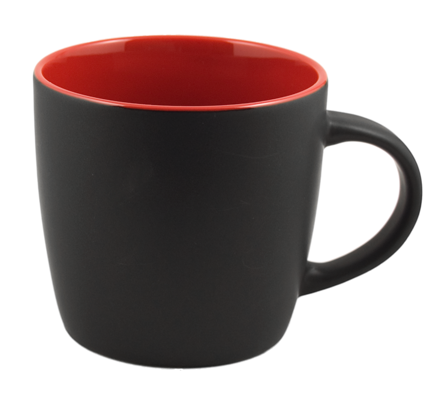 Cafe Two Tone Ceramic Black & Red Mug 12 Oz.