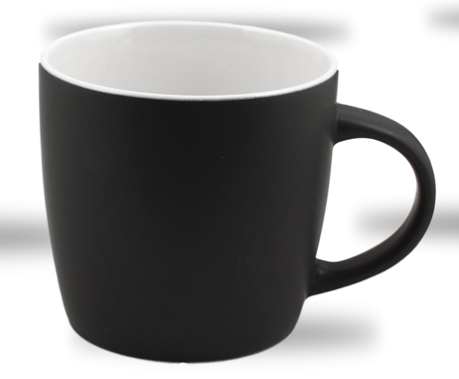 Cafe Two Tone Ceramic Black and White Mug 12 Oz.