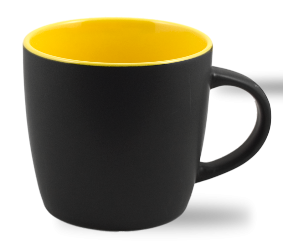 Cafe Two Tone Ceramic Black & Yellow  Mug 12 Oz.