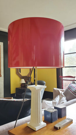 White Plaster Greek Column Light with Red Lamp Shade