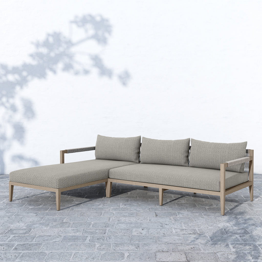 Sherwood Outdoor 2-Piece Sectional, Weathered Grey & Ash