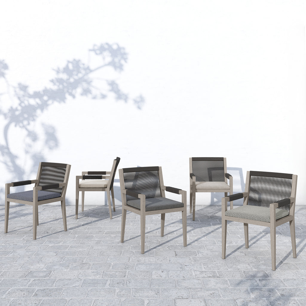 Sherwood Outdoor Dining Armchair - Weathered grey / charcoal