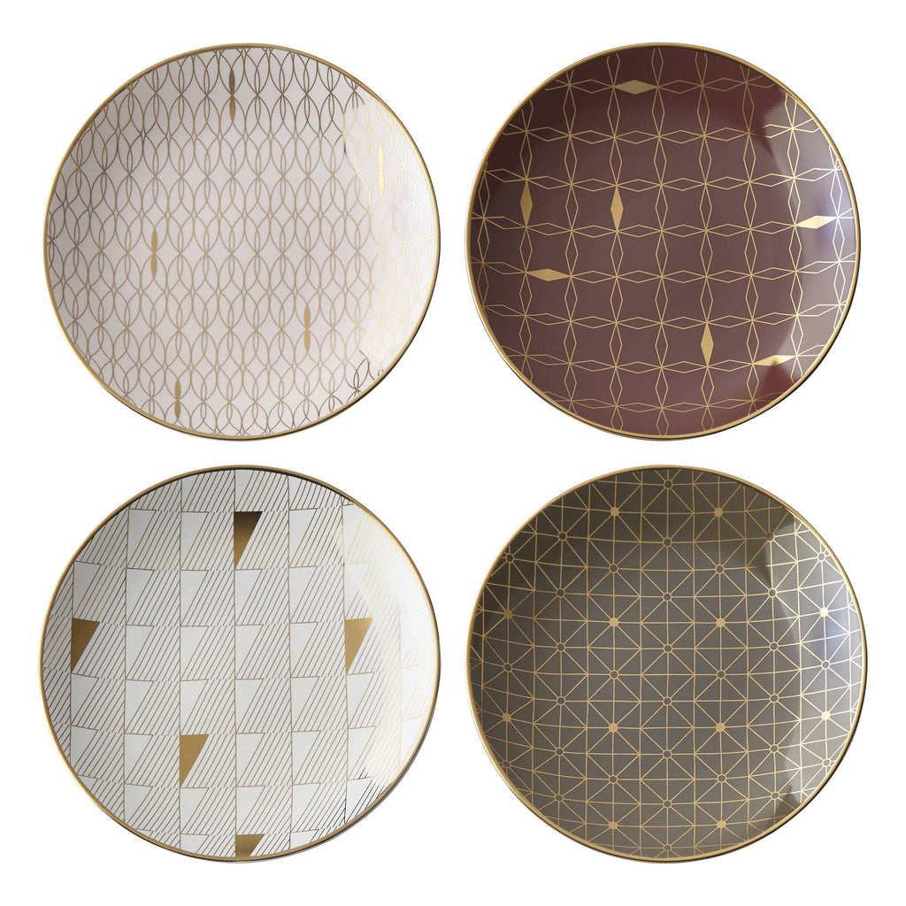 Trianna Tidbit Plates Gold Set of 4