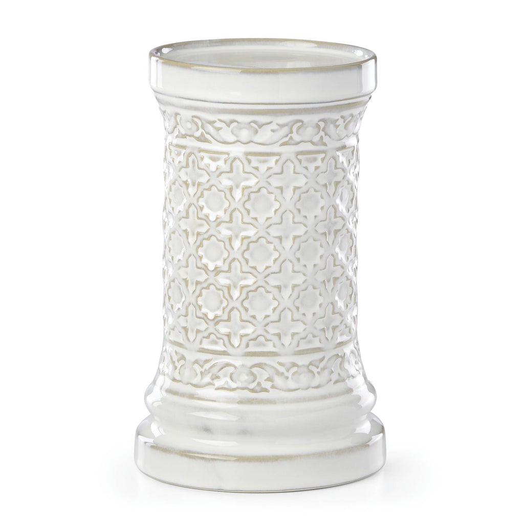 Global Tapestry Pillar Candleholder White 8""