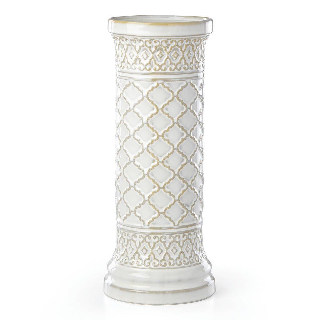 Global Tapestry Pillar Candleholder White 12""