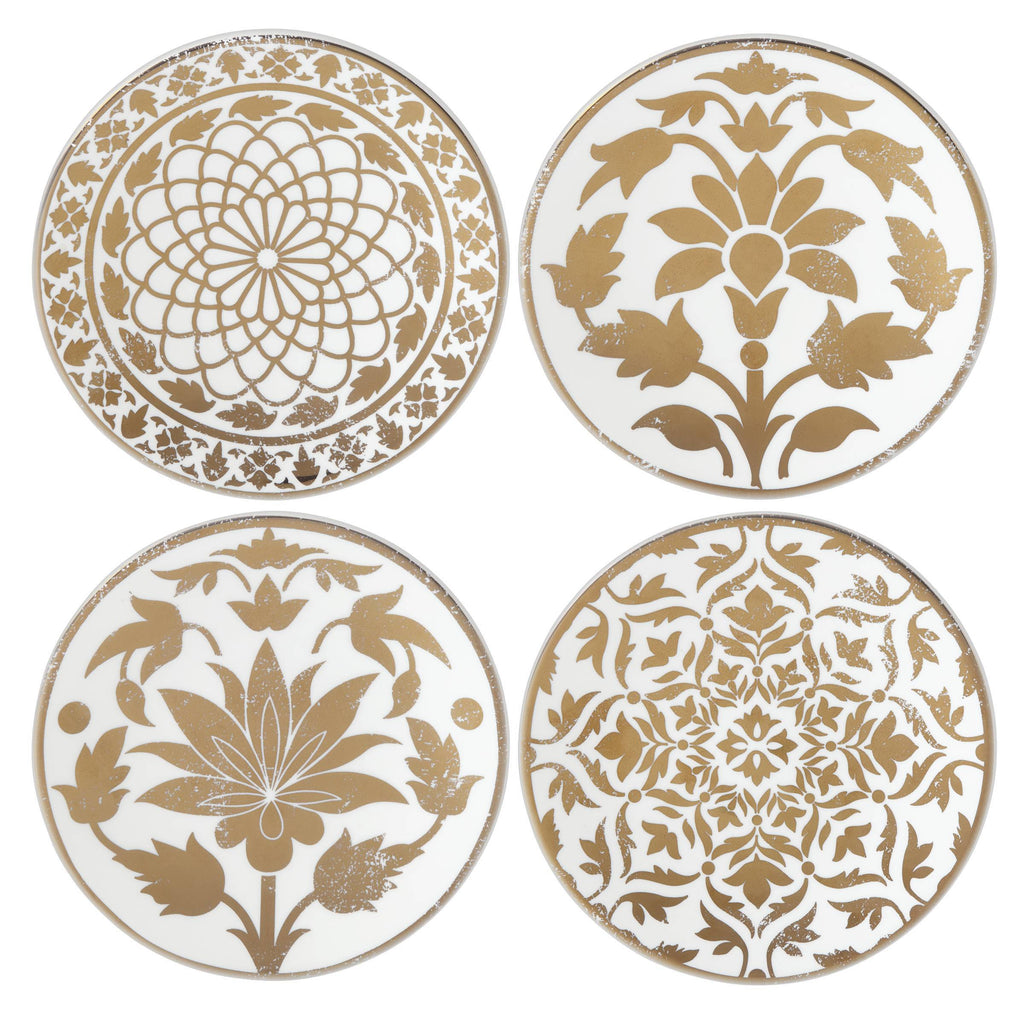 Global Tapestry Gold Tidbit Plate Set of 4