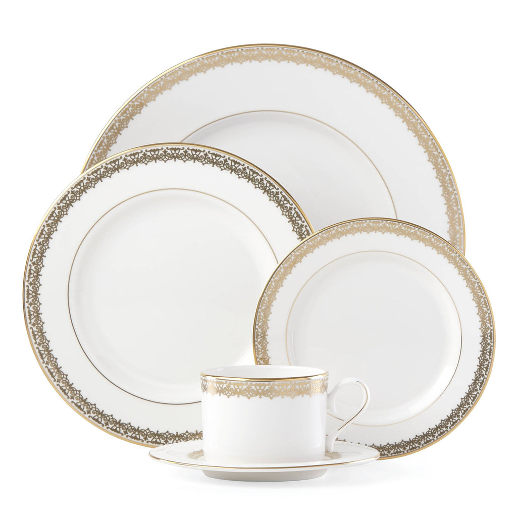 Lace Couture Gold 5 Piece Place Setting