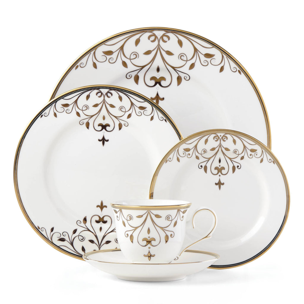 Opal Innocence Scroll Gold 5 Piece Place Setting