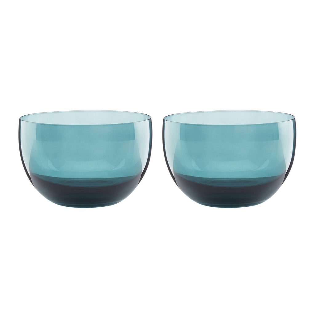 Sprig & Vine Glass Dip Bowl Turqoise Set of 2