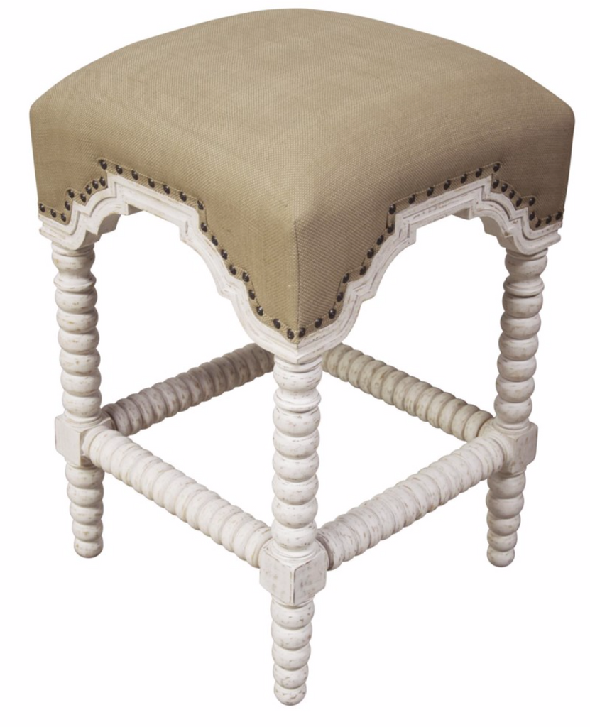 Abacus Counter Stool, White Wash