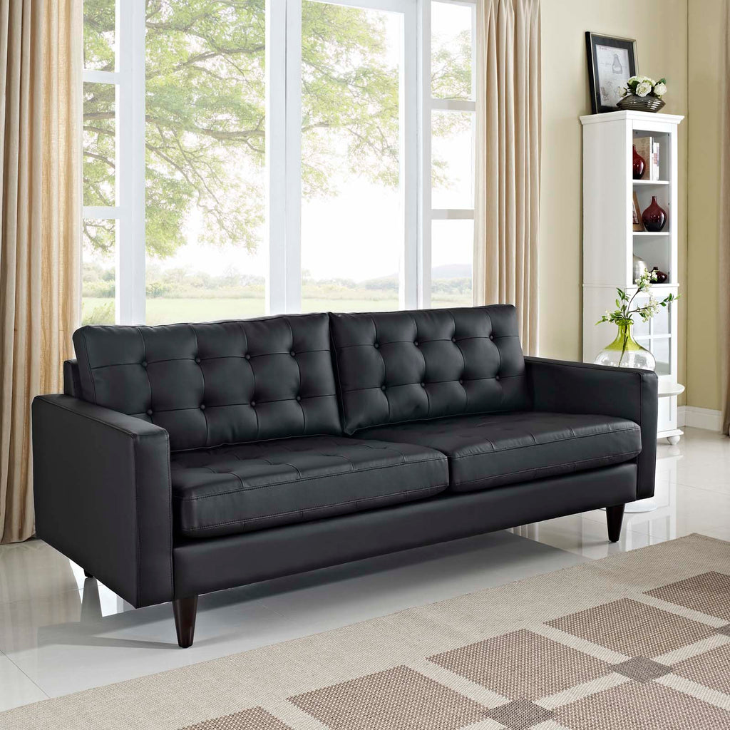 Empress Bonded Leather Sofa in Black