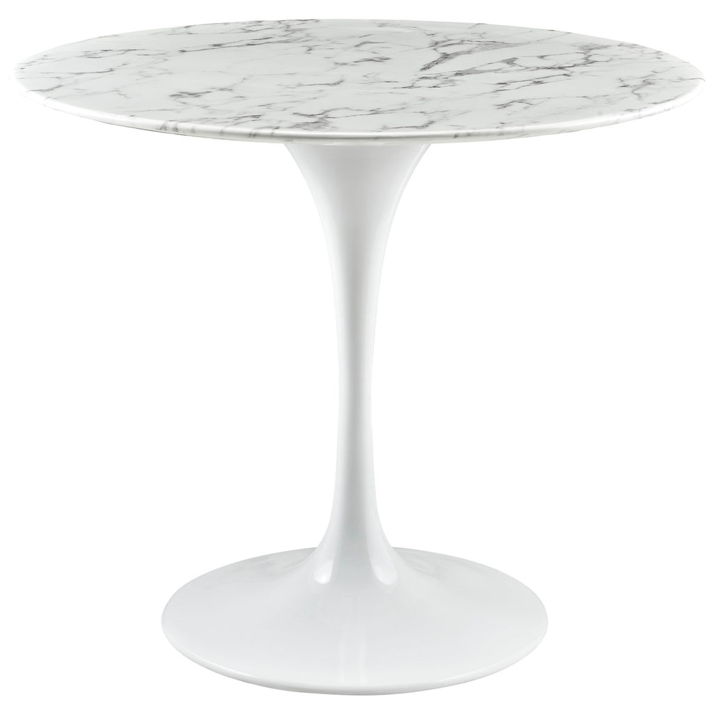 "Lippa 36"" Round Artificial Marble Dining Table in White"