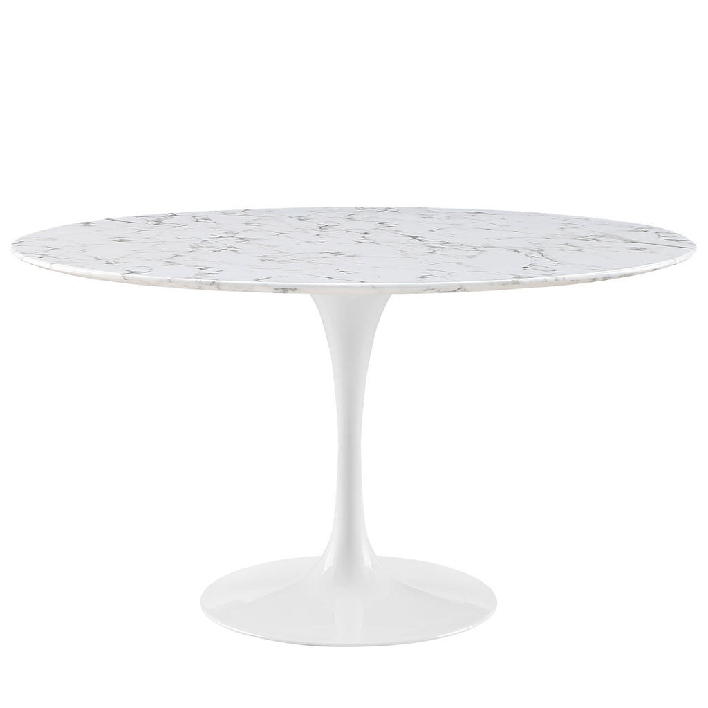 "Lippa 54"" Round Artificial Marble Dining Table in White"