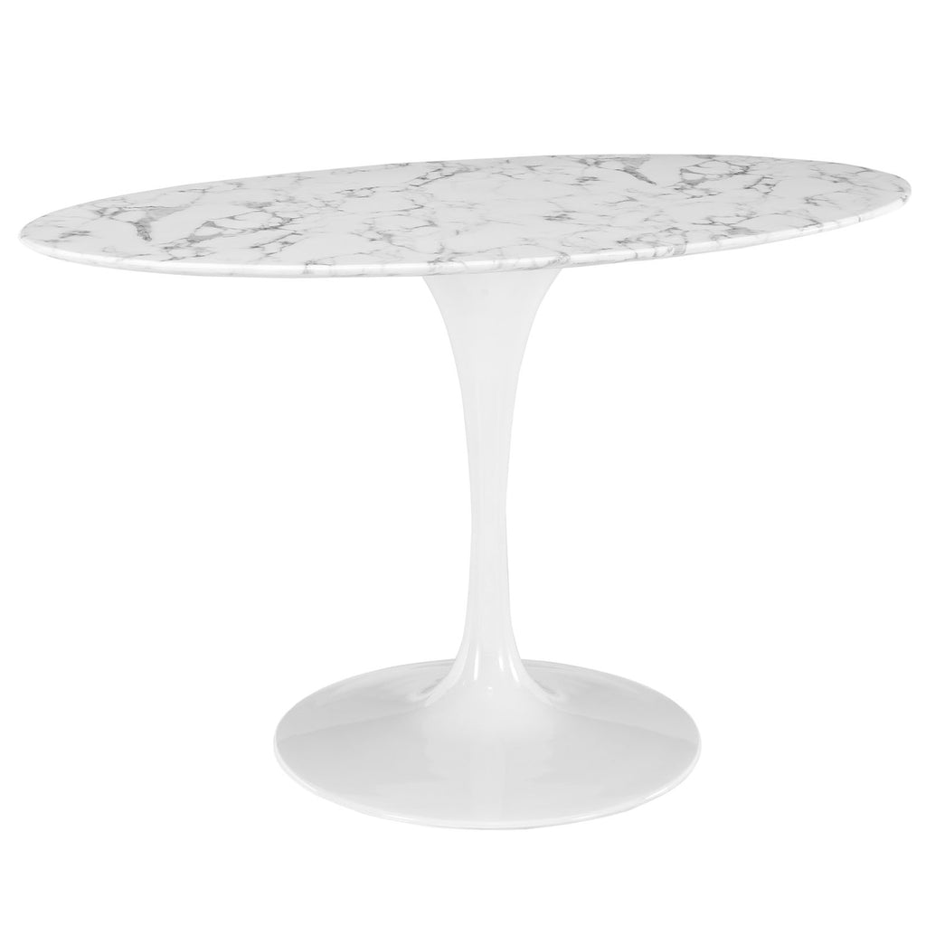 "Lippa 54"" Oval Artificial Marble Dining Table in White"
